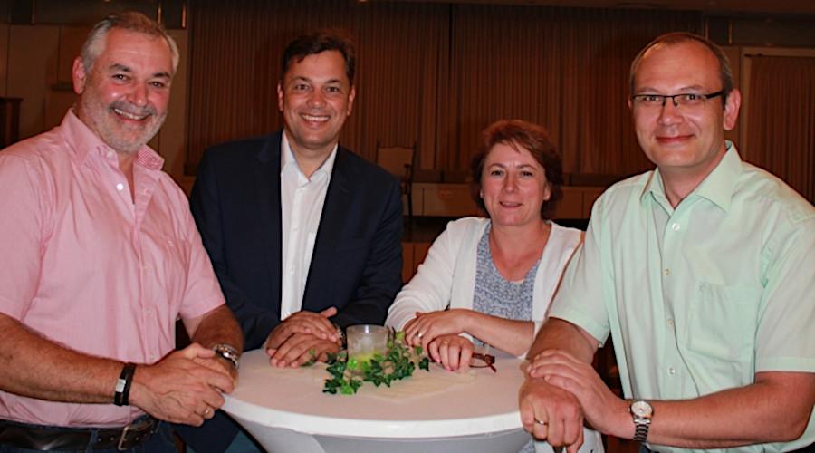 Christian Krüger (von links), Guido Peitsmeier und Thorsten Klein, mit Bianca Winkelmann.